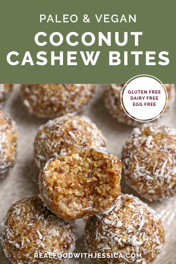 paleo coconut cashew bites with text
