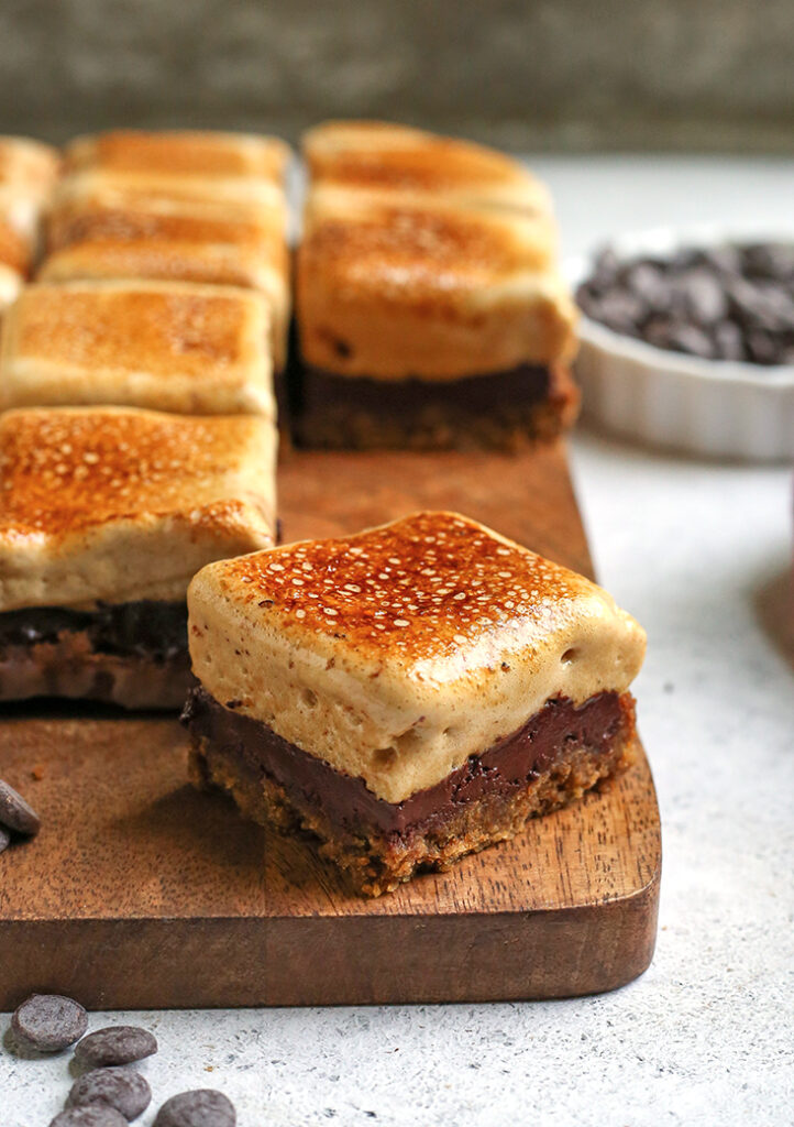 paleo s'more cookie bars cut and the inside showing