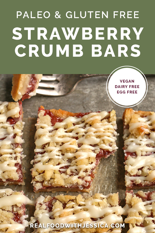 strawberry crumb bars with text