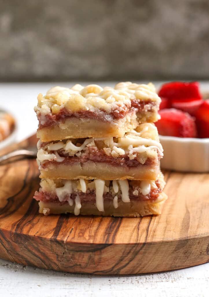 stack of paleo strawberry crumb bars