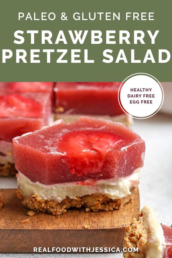 paleo strawberry pretzel salad image with text