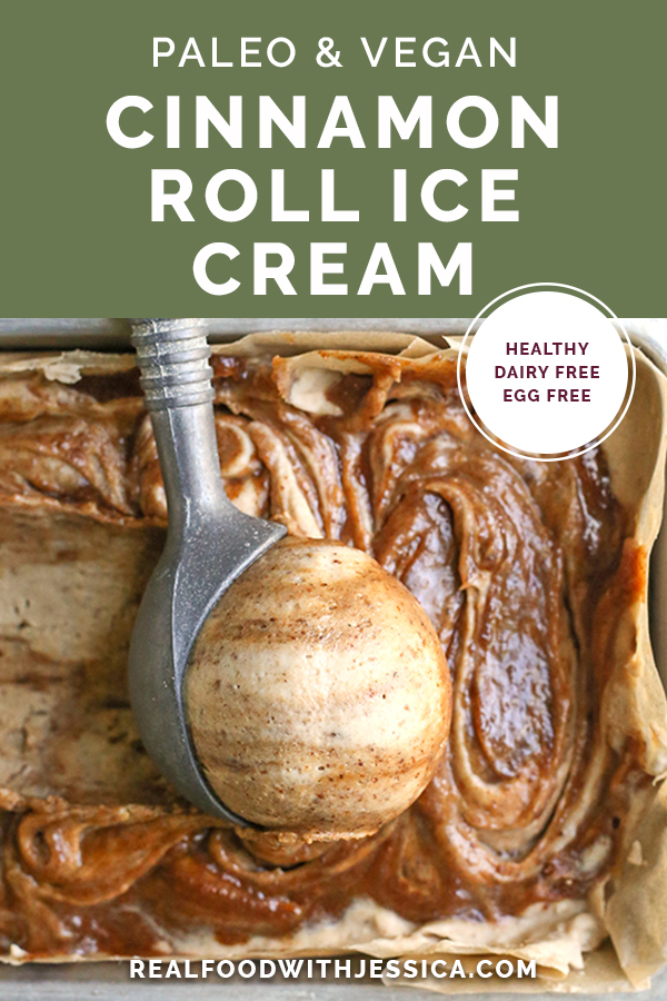 paleo vegan cinnamon roll ice cream with text
