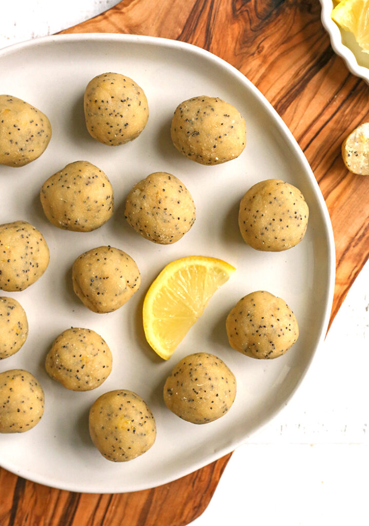 a plate of vegan paleo lemon poppy seed bites