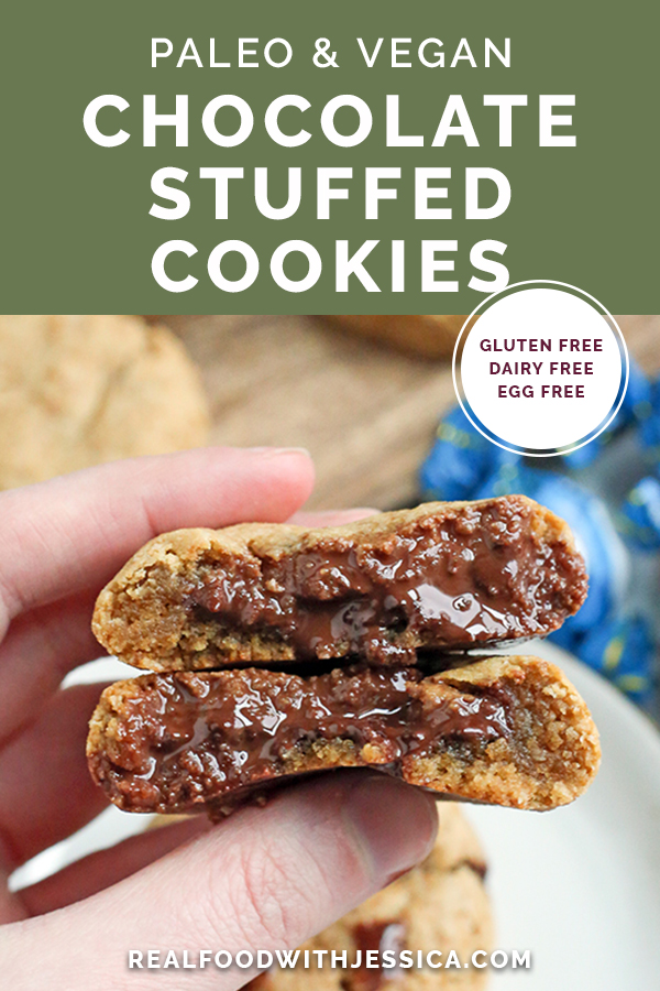paleo chocolate stuffed cookies with text