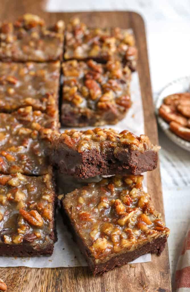 a plate of paleo pecan praline brownies