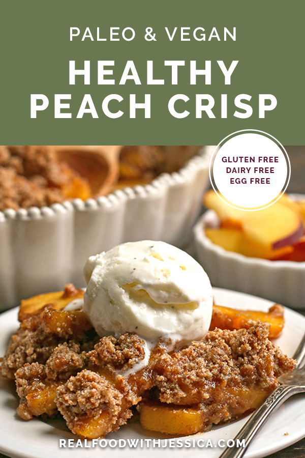paleo vegan peach crisp with text