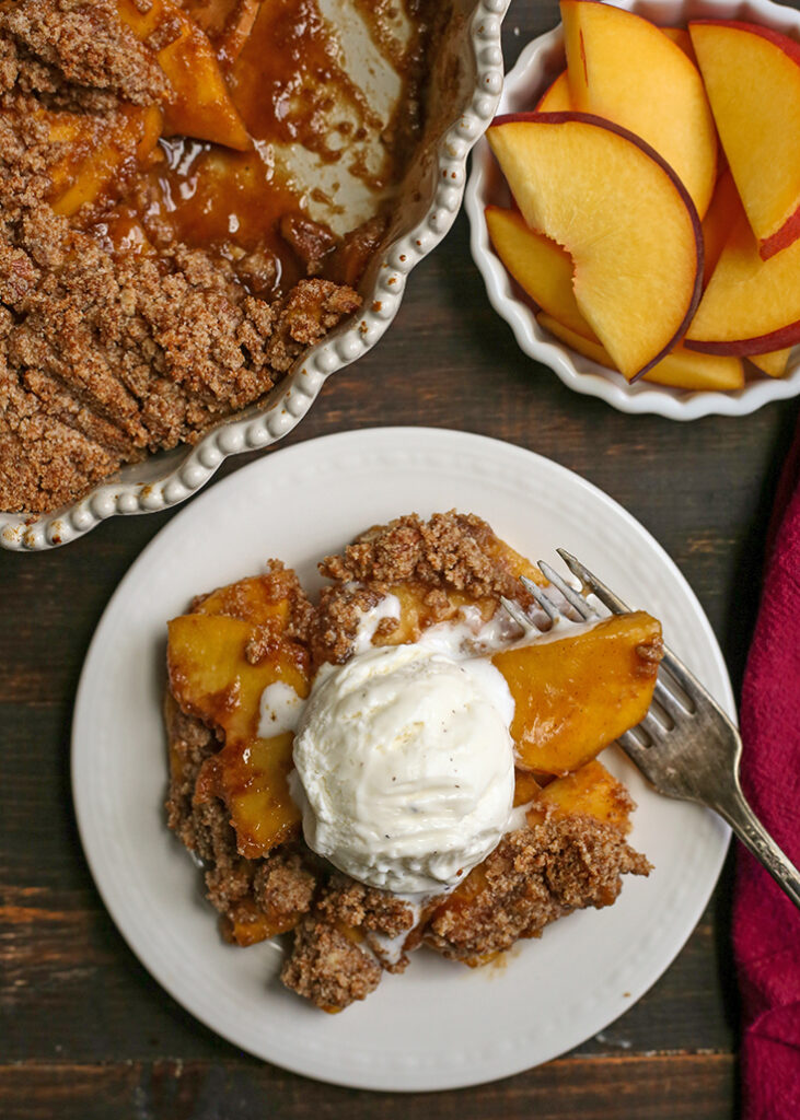 top view of paleo vegan peach crisp