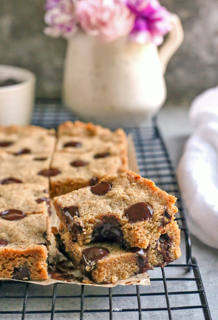 a stack of two grain free brown butter blondies