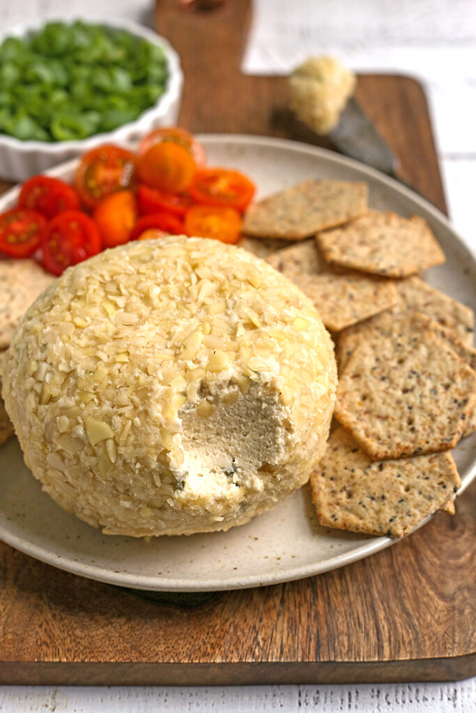 bite removed from dairy free cheeseball