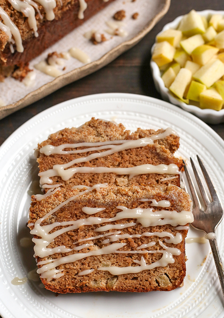 paleo apple pie crumb bread with a drizzle on top