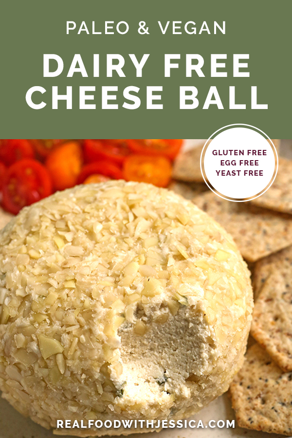paleo vegan cheeseball with text
