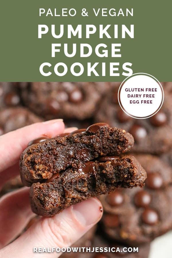 paleo pumpkin fudge cookies with text