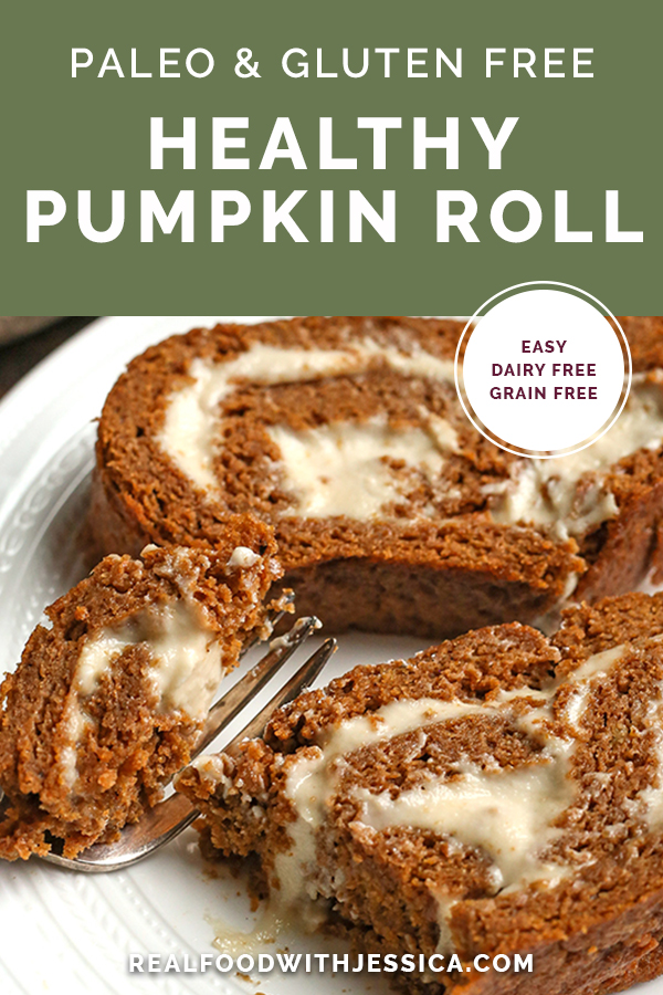 paleo pumpkin roll with text
