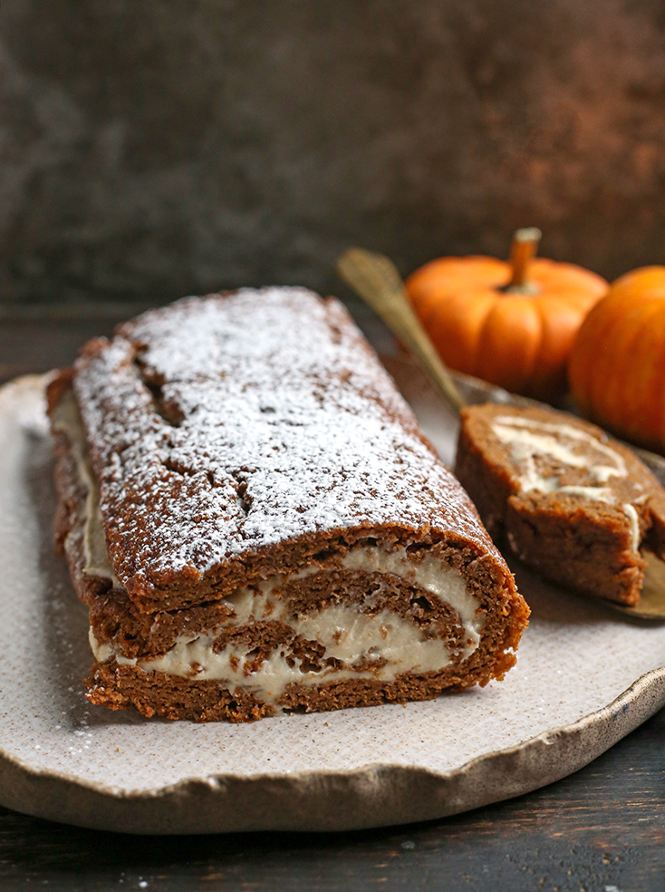 paleo pumpkin roll, side shot showing the layers