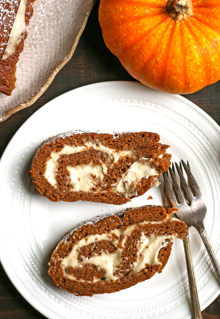 two slices of paleo pumpkin roll