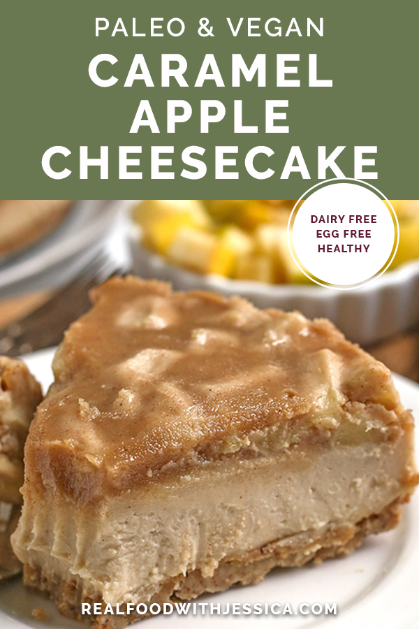 paleo vegan caramel apple cheesecake with text