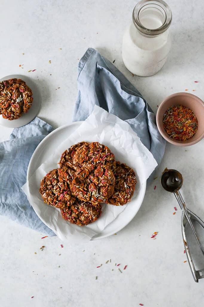plate of paleo sprinkle cookies