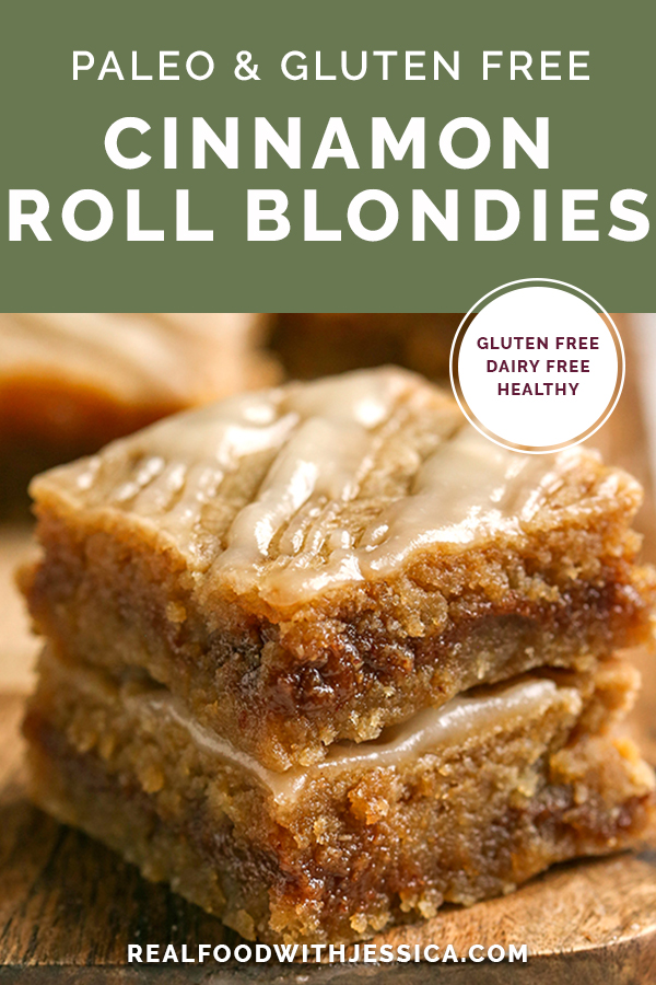 paleo cinnamon roll blondies with text