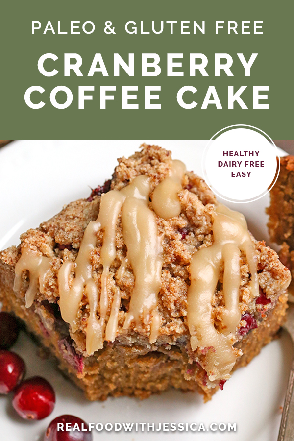 paleo cranberry coffee cake with text