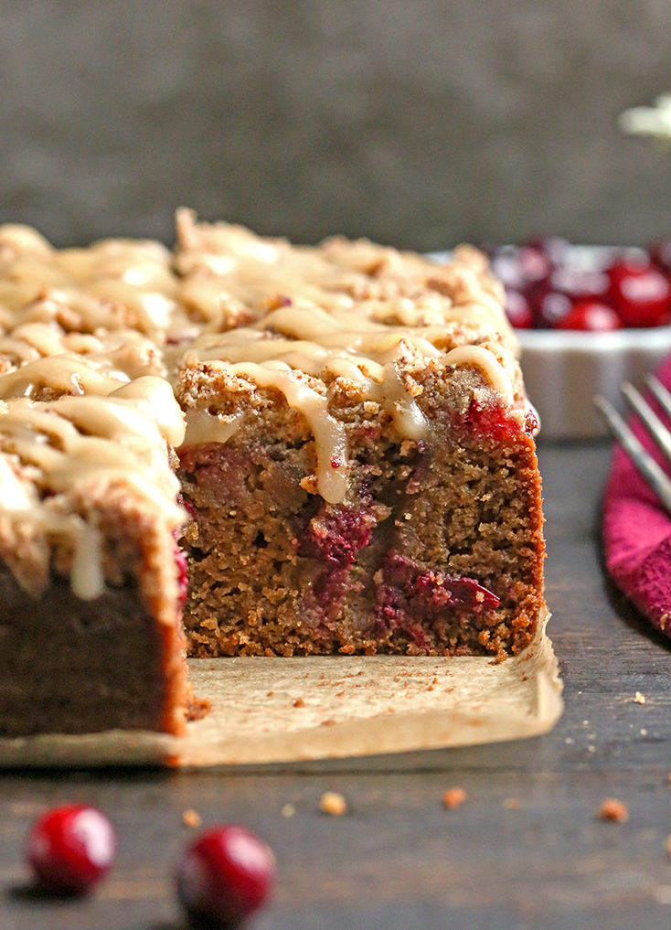 side view of cranberry coffee cake