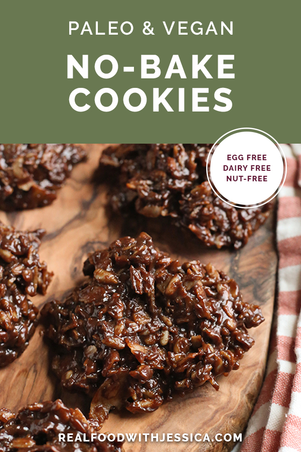 paleo nut free no bake cookies with text