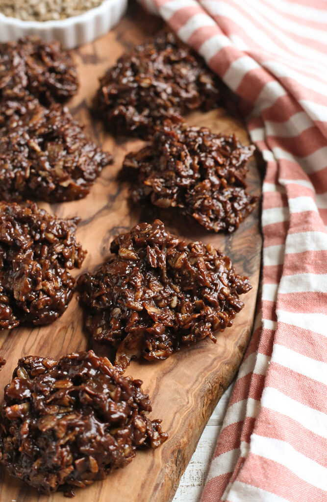 paleo no bake cookies on a cutting board