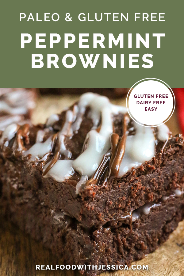 paleo peppermint brownies with text