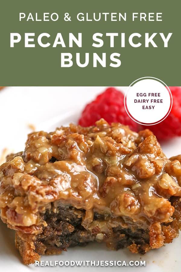 paleo pecan sticky buns with text