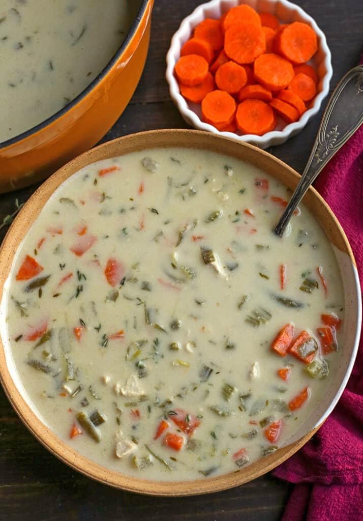bowl of paleo whole30 creamy chicken soup