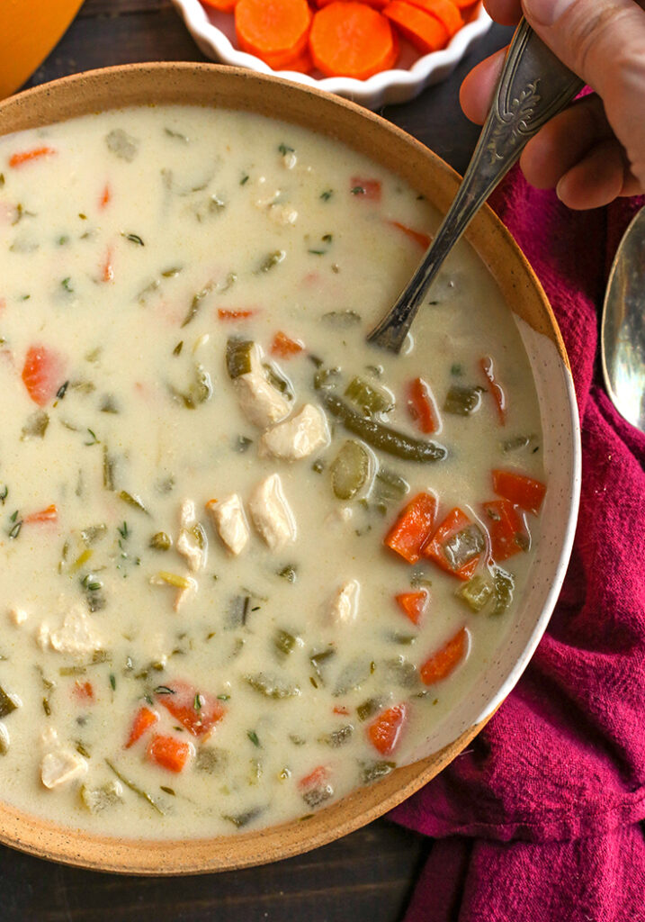 bowl of paleo creamy chicken soup