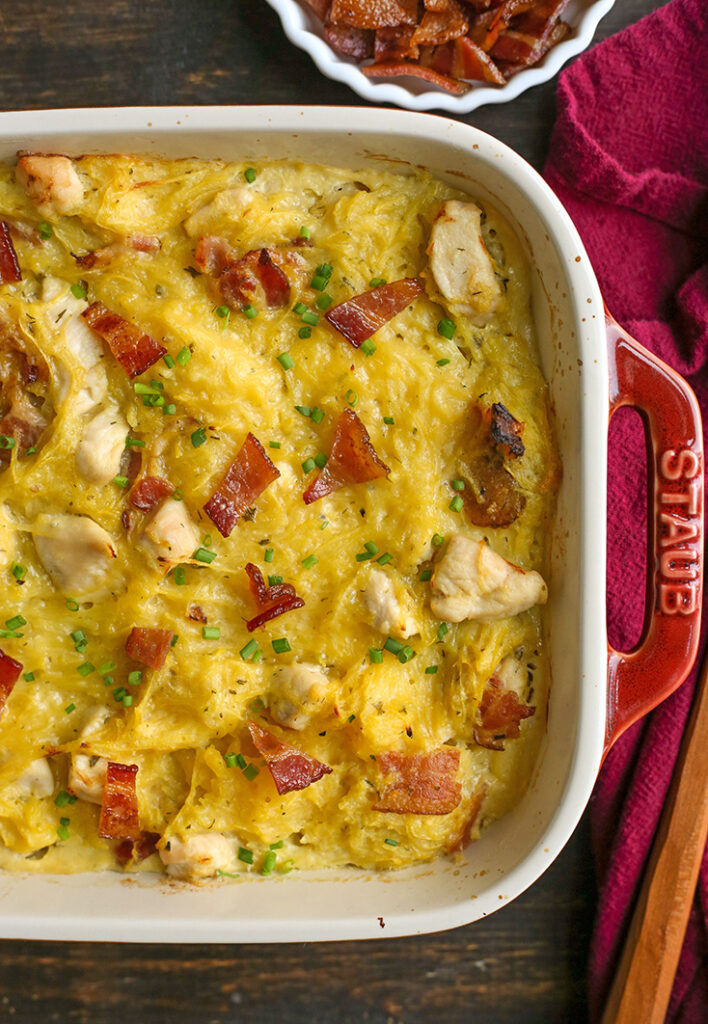 a pan of paleo whole30 chicken bacon ranch casserole, top view