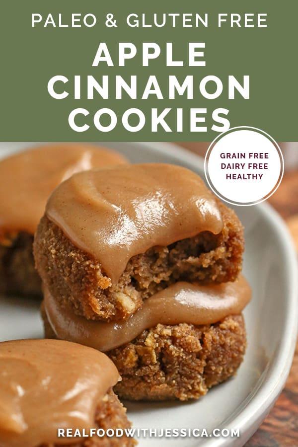 paleo apple cinnamon cookies with text