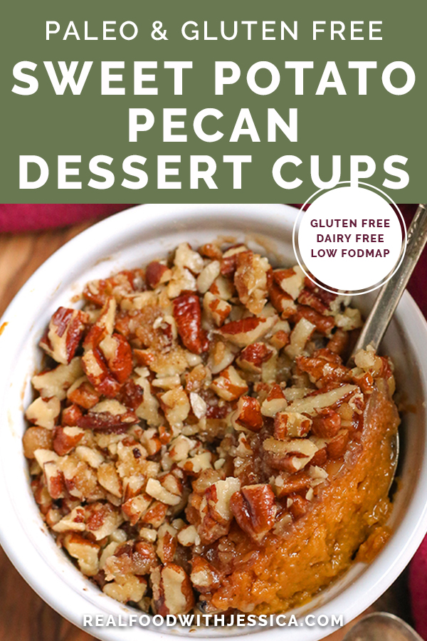 paleo sweet potato dessert cups with text