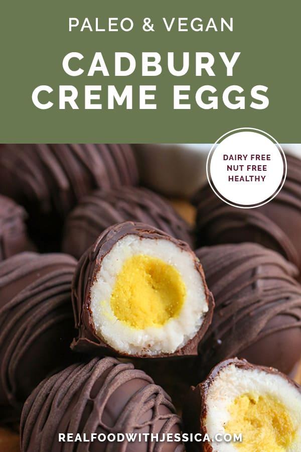 paleo cadbury creme eggs with text
