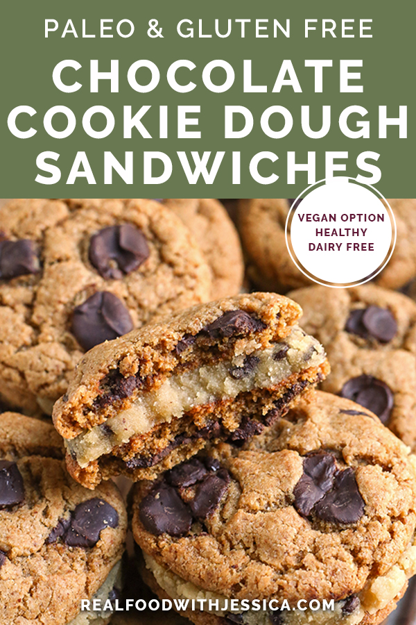 paleo chocolate chip cookie dough sandwich with text