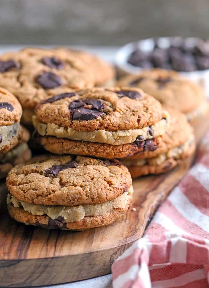 vegan paleo chocolate chip cookie dough sandwiches on a cutting board