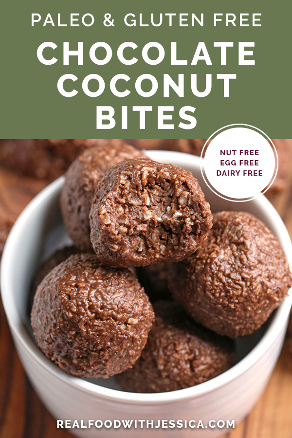 paleo nut free chocolate coconut bites with text