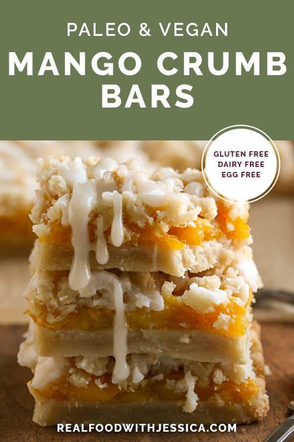 paleo mango crumb bars with text