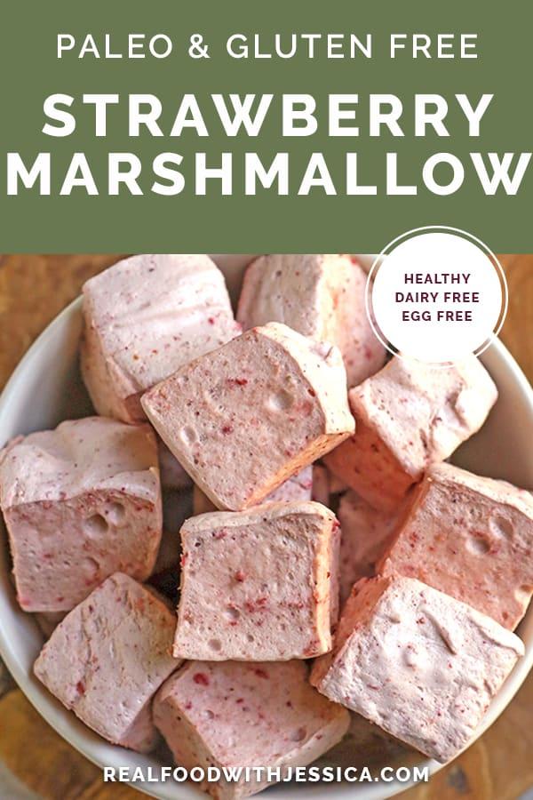 paleo strawberry marshmallows with text