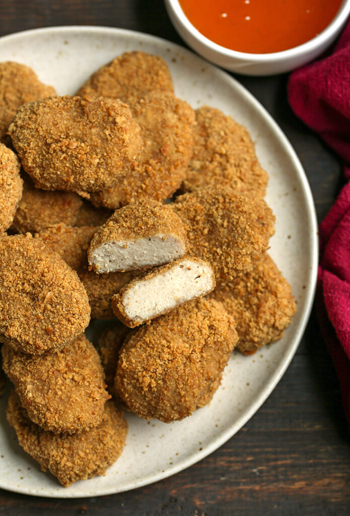 top view of a plate of paleo chicken nuggets