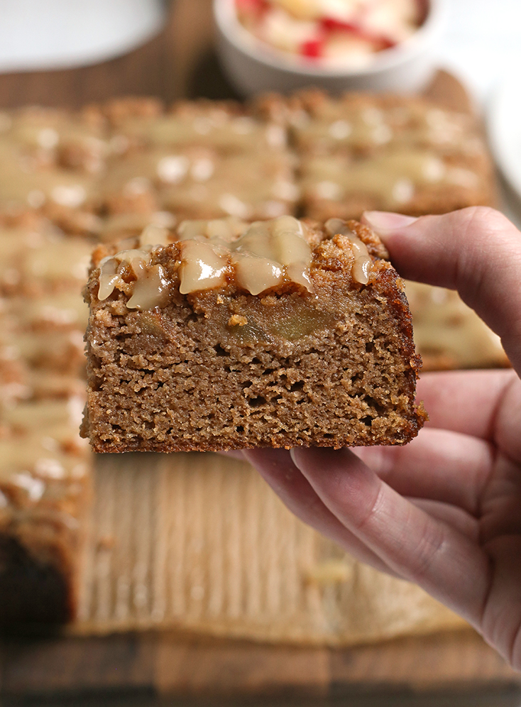 layers of the apple paleo coffee cake shown