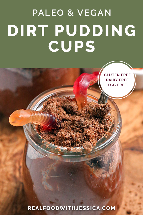 paleo vegan dirt pudding cups with text