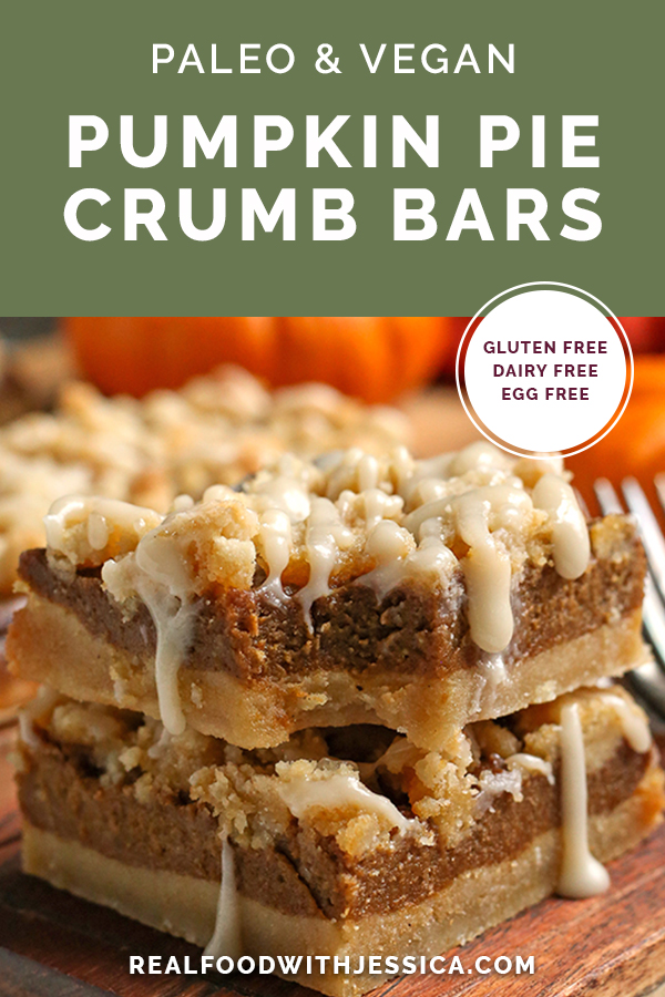 paleo vegan pumpkin crumb bars with text