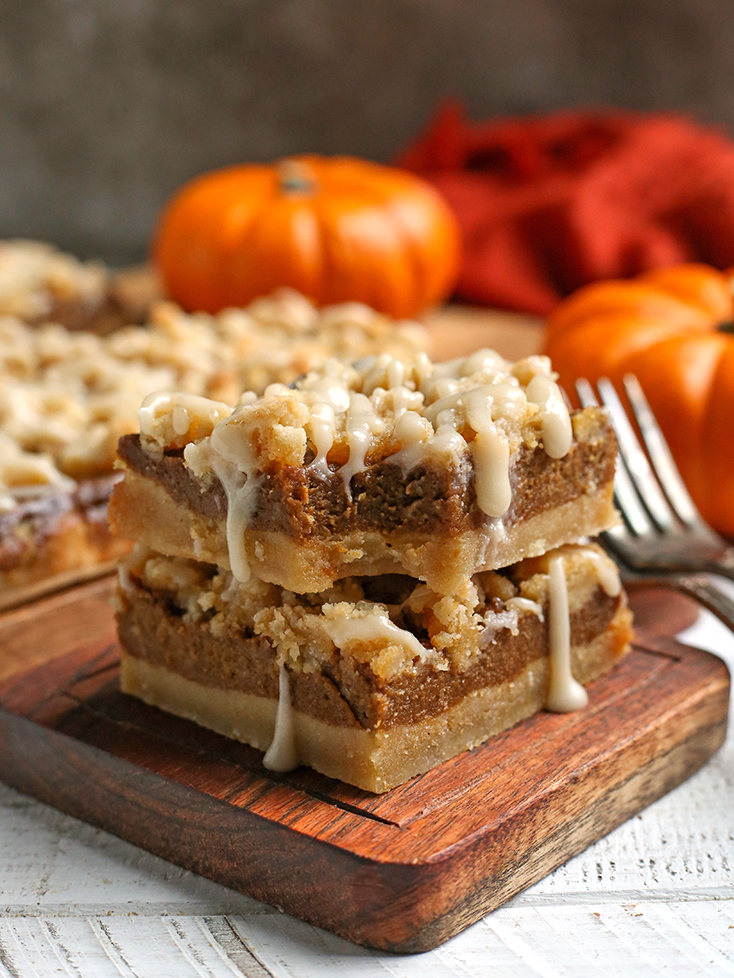 front view of paleo pumpkin crumb bars