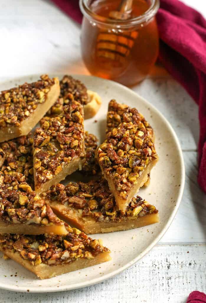 healthy baklava bars on a plate